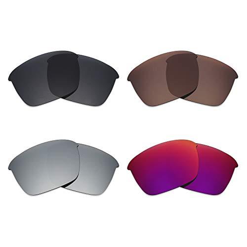 Mryok 4 pares de lentes polarizadas de repuesto para gafas de sol Oakley Thinlink – negro/bronce marrón/plateado titanio/sol medianoche ⭐
