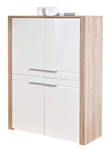 Links 19500380comò bianco lucido High board soggiorno salotto comò 4ante rovere sonoma NEU