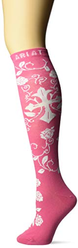 Ariat Women's Over The Calf Scroll Cross Novelty Sock, Pink, One Size