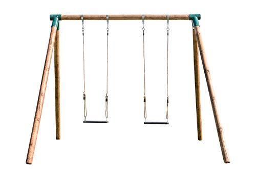 MASGAMES | Columpio de Madera Fuji para Adultos | Asientos Planos de Caucho con Cuerdas Regulables | Madera tratada Muy Gruesa | Anclajes incluidos | Uso doméstico |