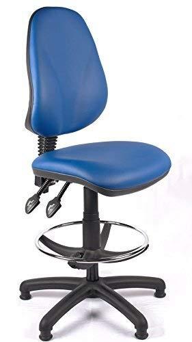 Kaper Go Relax Oficina respaldo alto dibujante silla del balanceo con soporte lumbar, Presidente de recepción cómodo, Laboratorio de oficinas alto Sillón, Silla de ordenador, Conferencia (Negro Vinilo