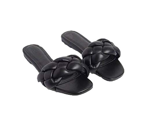 (black, medium size)2021 new summer solid color slippers increase woven shoes women sandals.