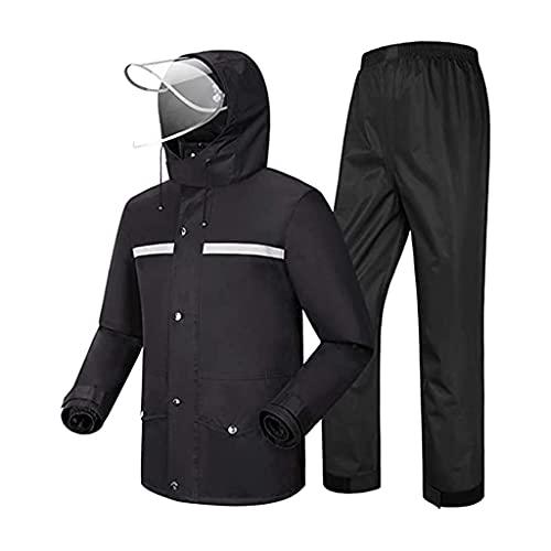 BHBXZZDB Traje de Lluvia Impermeable (Chaqueta y pantalón) Hombre Ciclismo Ropa de Lluvia Impermeable Resistente al Viento Transpirable con Sombrero para Senderismo/Al Aire Libre/Camping/Moto,