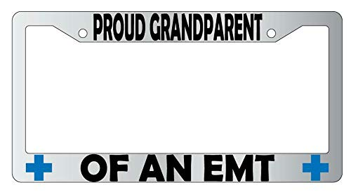 License Plate Frames, Proud Grandparent Of A EMT Metal License Plate Frame Applicable to Standard car Unisex-Adult Car Licenses Plate Covers Holders Frames for Plates 15x30cm