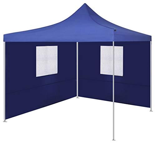 vidaXL Tente Pliable avec 2 Parois Bleu Pavillon Terrasse Tonnelle de Jardin