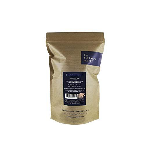 LA TETERA AZUL Zwarte thee Darjeeling Premium 100% natuurlijk van de beste kwaliteit.25 piramides in individueel geval.