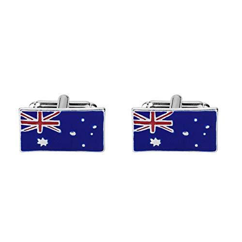 AYDOME Gemelos Boda Personalizados Gemelos de Hombregemelos para Camisa Hombre Bandera Australiana Gemelos Azul