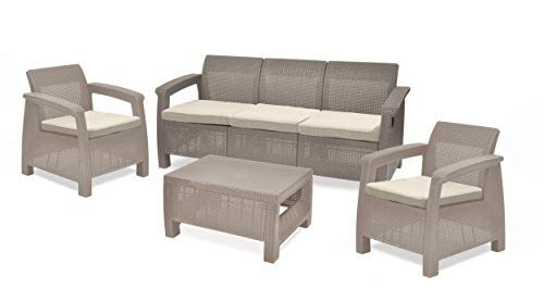 Keter Corfu Outdoor 5-Seater Garden Lounge Set - Cappuccino with Cream Cushion