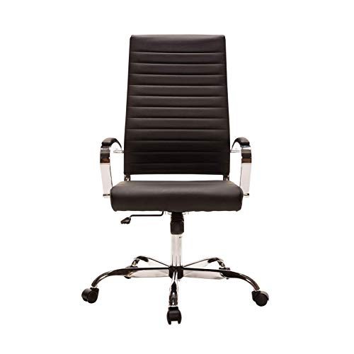 Sidanli Black Executive Office Chair, High Back Ribbed Chair, Modern Desk Chair with Faux Leather.