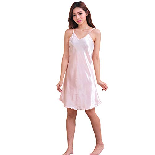 Roze oversized vrouwelijke satijn Rayon nachtjapon dame Sexy spaghetti nacht jurkje vrouwen nachtjapon Sleeveles nachtkleding nachtkleding