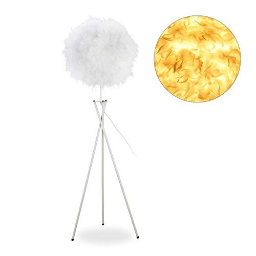 Relaxdays Pennenlamp, E27, één lamp, grote driepoot, ronde veer kap, staande lamp HxBxD 156 x 48 x 42 cm, wit