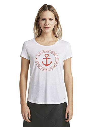 TOM TAILOR Denim Damen Basic Logo' T-Shirt, Cremefarben (10332-Off White), XL