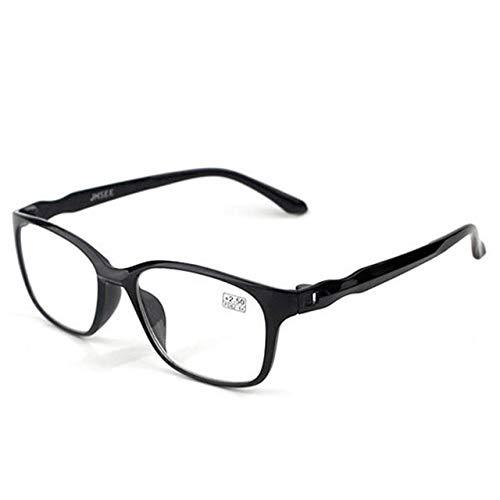 Mdsfe Lesebrille Männer Anti-Blaulicht Lesebrille Anti-Müdigkeit Computerbrille - 0, Glossy Black