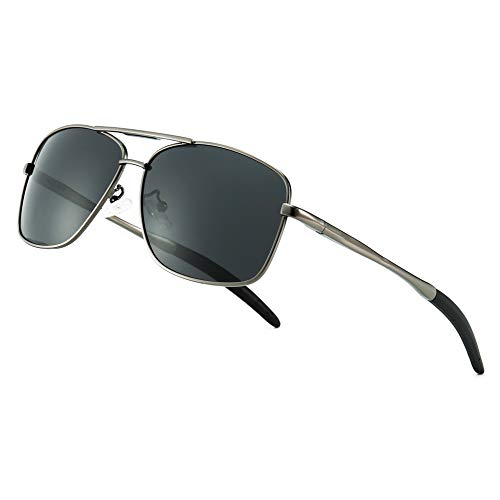SUNGAIT Men's Polarized Sunglasses Durable Metal Frame for Fishing Driving Golf (Gunmetal Frame/Grey Lens) Metal Frame 0925 QKH