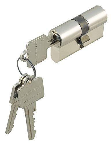 Profil-Doppelzylinder 30/30 Zylinder-Schloss mit 3 Schlüssel für Einsteckschlösser | Messing vernickelt - verschiedensperrend | zertifiziert nach DIN 18252-70 & EN 1303:2005 | 1 - Stück Profilzylinder