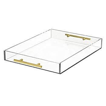 NIUBEE Clear Serving Tray 12x16 Inches -Spill Proof- Acrylic Decorative Tray Organiser for Ottoman Coffee Table Countertop with Round Handles