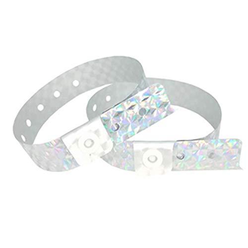 Set de 100 pulseras de plástico/vinilo para eventos, personalizables e impermeables (Plata holográfica)
