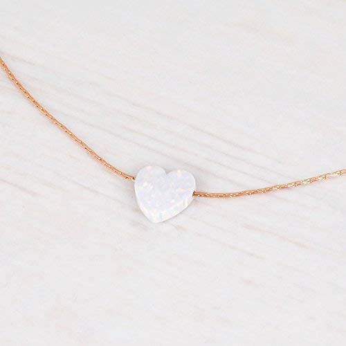 Rose Gold Filled White Opal Heart Choker Necklace - Designer Handmade Delicate Collar - Length: 13.5 inch + 3 inch Extender