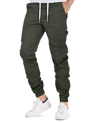 AitosuLa Herren Jogginghose Baumwolle Freizeithose Sport Slim Fit Trainingshose Sweatpants Jogger Pant (Grün, Medium)
