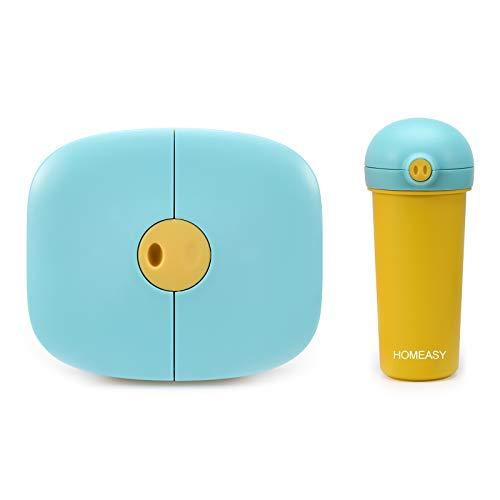homeasy Boîte Bento Enfant Hermétique, Boîte Repas 3 Compartiments avec Bouteille 380ML sans BPA, Micro-Ondes & Lave-Vaisselle - pour École,Voyage,Pique-nique etc.