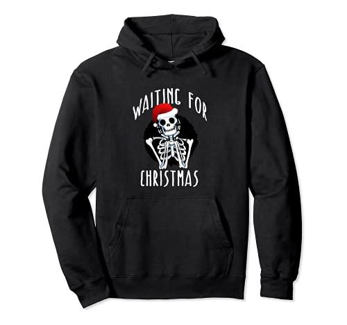WAITING FOR CHRISTMAS Skeleton Funny Santa Hat Xmas Meme Pullover Hoodie