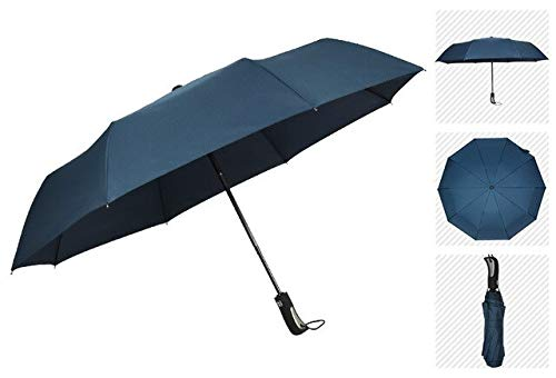 NJSDDB paraplu Nieuwe Grote Sterke Mode Winddichte Mannen Zachte Vouwen Compact Volledig Automatische Regen Pongee Paraplu Vrouwen Reclame, marineblauw