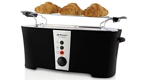 Orbegozo TO 6050 - Tostadora ranura larga, 7 niveles de tostado, función descongelado, bandeja recogemigas, calienta panecillos, parada rápida, 900 W