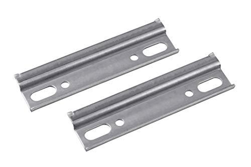 Metafranc Schrankaufhängeschiene - 2 Stück - 110 mm Länge - Robuster Stahl - Mit Abrutschsicherung - Zum Aufhängen von Hängeschränken / Schrankhalterung / Schrankträger / Wandschiene / 350586