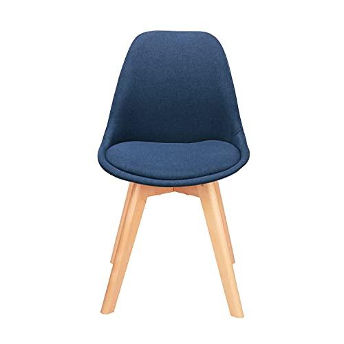 WV LeisureMaster, set di 4 sedie in lino, piedi in legno naturale, comodi cuscini, adatti per sala da pranzo e camere da letto (blu, 4)