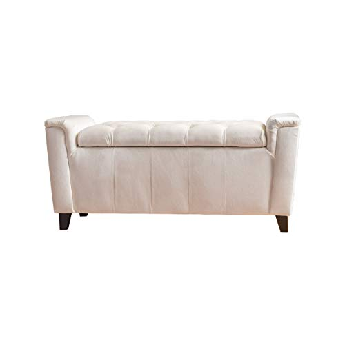 Perris Ivory Fabric Armed Storage Bench