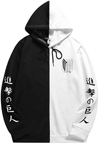 Womens Attack on Titan Hoodie Cosplay Anime Scouting Legion Hooded Sweatshirt Jumper Two Color For Unisex XXLBlack Wing