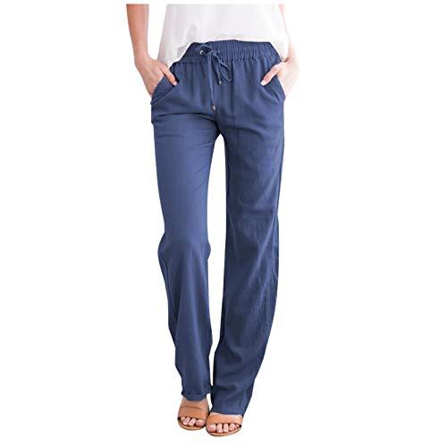 AOZLOVEC Pantalones sueltos casuales Mujer Lino Medio cordón Bolsillos de cintura elástica Pantalones largos rectos de pierna ancha XL Azul