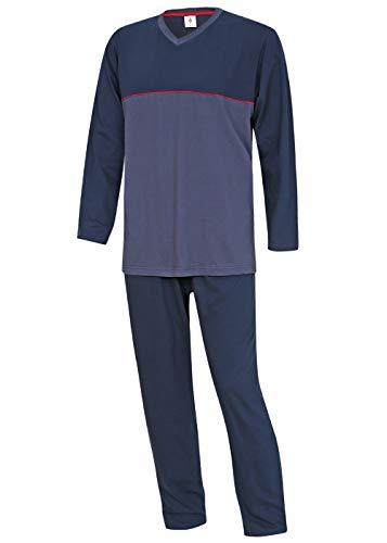 Herren Schlafanzug lang Pyjama Nachtwäsche Sleepwear M L XL XXL 3XL 100% Baumwolle (L)