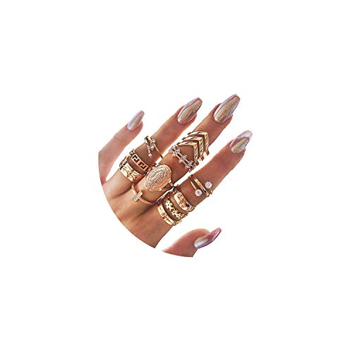 CSIYANJRY99 Boho Gold Knuckle Finger Ring Set for Women Teen Girls,Vintage Stackable Midi Stacking Rings Set (13pcs)