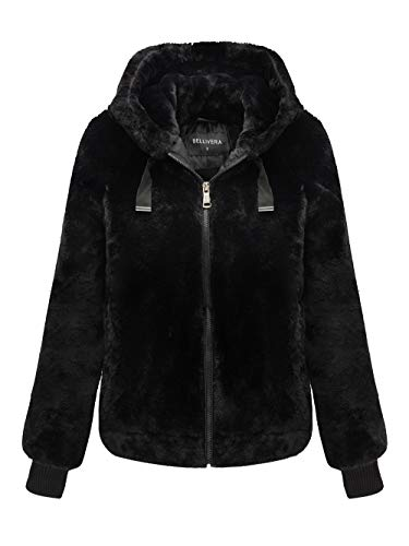 Bellivera Women's Faux Fur Jacket with 2 Side-Seam Pockets, The Coat with Hood Black XX-Large