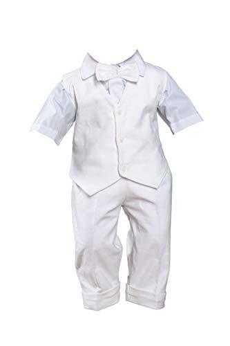 Sommer Taufanzug Weiß Festanzug Hochzeitsanzug 4 TLG Set (24-62/68, Anzug)