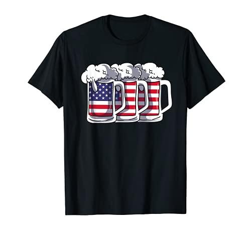 Bandera Americana Copa De Cerveza Alcohólica Americana 4 De Julio Camiseta