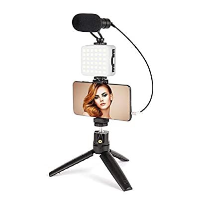 Microphone for Phone with LED Light,Vlogging Kit with Phone Holder&Mini Tripod,YouTube Equipment for iPhone Samsung DSLR Camera,Smartphone Video Kit for Vlogging,Live Stream,YouTube from FLASHOOT