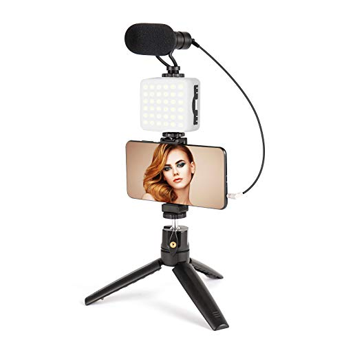 Microphone for Phone with LED Light,Vlogging Kit with Phone Holder&Mini Tripod,YouTube Equipment for iPhone Samsung DSLR Camera,Smartphone Video Kit for Vlogging,Live Stream,YouTube