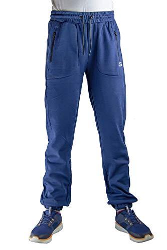 Skechers Caballeros Pantalones De Correr Pantalones Chándal Gimnasio Chándal Pantalones con con Puños Dobladillo - Azul, S