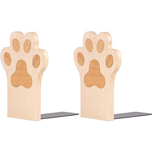 Umora本立て ブックエンド 猫の爪 卓上収納 可愛い ナチュラル 木製 2枚セット(楓)