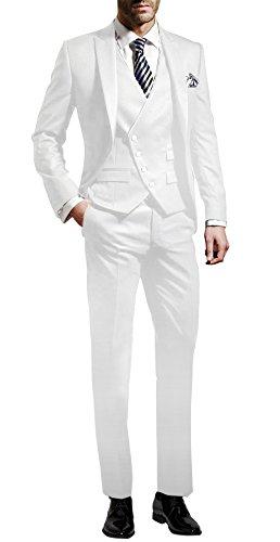 Suit Me Costume 3 pièces pour homme Coupe ajustée Pour mariage, fête - Veste, gilet, pantalon - - 36