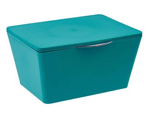 WENKO Aufbewahrungsbox mit Deckel Brasil Petrol - Aufbewahrungskorb, Badkorb mit Deckel, Kunststoff (TPE), 19 x 10 x 15.5 cm, Petrol
