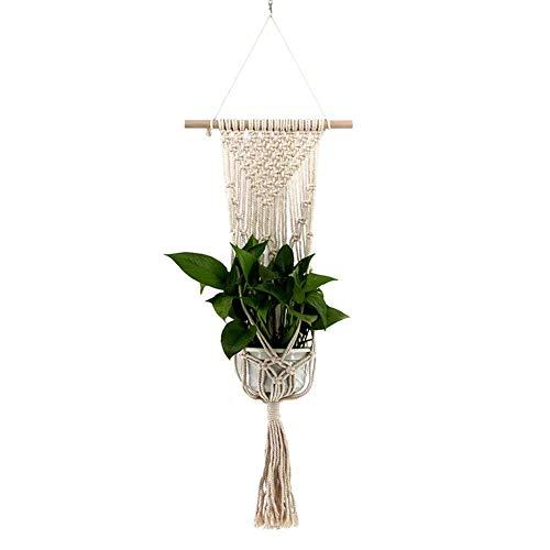Bloempot, macramé, bloempot, katoenen koord, hanglamp, bloempot, plantenhouder, ophanghaak, Boheemse stijl, voor binnen en buiten, plafond, balkon, terras, wanddecoratie, boho decoratie