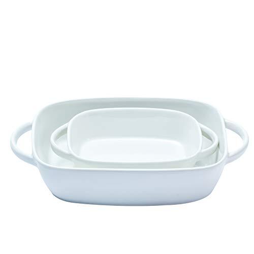Daveinmic Baking Dish Ceramic,2 PCS Rectangular Bakeware Set with Handle Baking Dish for Cooking Cake Dinner 10.5x7.1 inch and 7.3x5.2 inch Porcelain Baking Pans (White)
