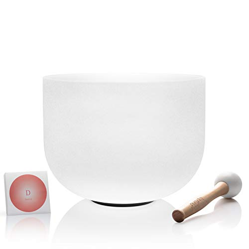 TOPFUND D Note Quartz Crystal Singing Bowl Sacral Chakra 10 inch O-ring and Rubber Mallet Included