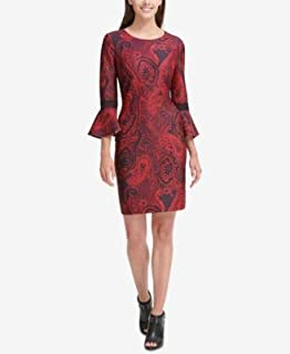 TOMMY HILFIGER Womens Red Printed Bell Sleeve Jewel Neck Above The Knee Sheath Party Dress US Size: 12