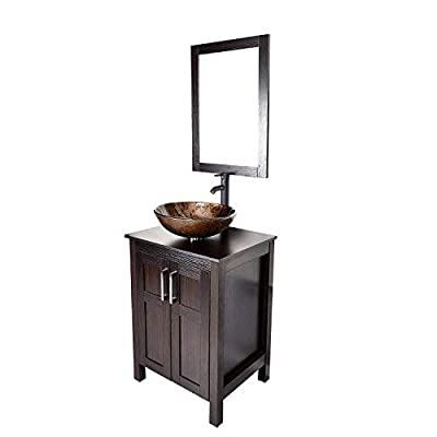 24 inch Bathroom Vanity Set - Combo MDF Sink Cabinet Vanity with Counter Top Glass Vessel Sink Vanity Mirror and 1.5 GPM Faucet