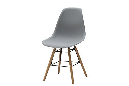 White Loft, Set de 4 chaises, Bois, Gris, 47 x 52 x 84 cm