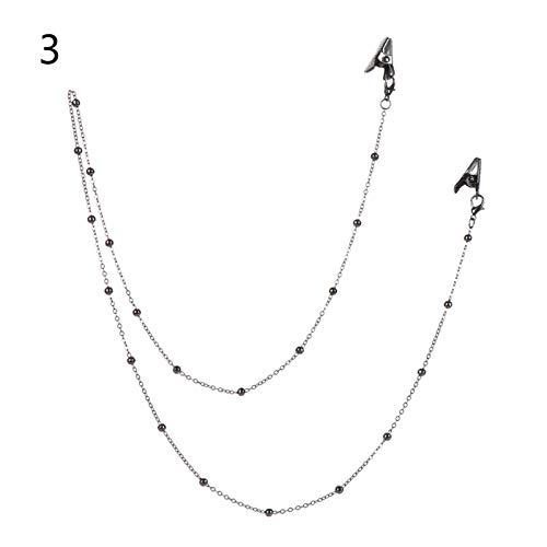 JCNVT Delicado Collar Correa de Moda Metal de Metal Gafas de Cuentas Cadena con Cadena de Cadenas Cuerdas de Cordones Ear Saver Holder Anti-perdido Cuerda para la decoración al Aire Libre (Color : C)